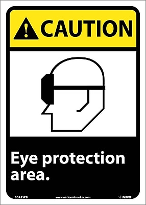 Caution, Eye Protection Area, 14X10, Adhesive Vinyl