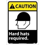 Caution, Hard Hats Required, 14X10, Adhesive Vinyl