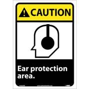 Caution, Ear Protection Area, 14X10, Adhesive Vinyl