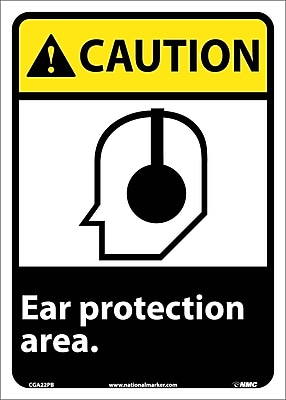 Caution, Ear Protection Area, 14X10, Adhesive Vinyl