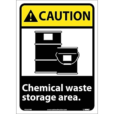 Caution, Chemical Waste Storage Area, 14X10, Adhesive Vinyl