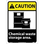 Caution, Chemical Waste Storage Area, 14X10, Adhesive Vinyl