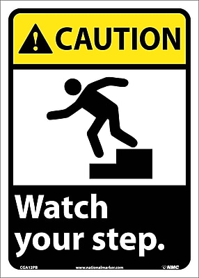 Caution, Watch Your Step (W/Graphic), 14X10, Adhesive Vinyl