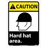 Caution, Hard Hat Area (W/Graphic), 14X10, Adhesive Vinyl