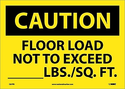 Caution, Floor Load Not To Exceed _____Lbs/Sq. Ft, 10X14, Adhesive Vinyl