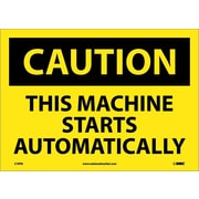 Caution, This Machine Starts Automatically, 10X14, Adhesive Vinyl