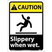 Caution, Slippery When Wet (W/Graphic), 14X10, Adhesive Vinyl