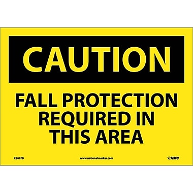 Caution, Fall Protection Required In This Area, 10X14, Adhesive Vinyl