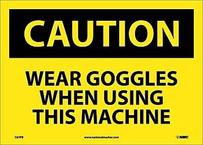 Caution, Wear Goggles When Using This Machine, 10X14, Adhesive Vinyl