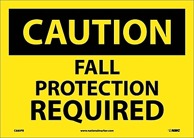 Caution, Fall Protection Required, 10X14, Adhesive Vinyl