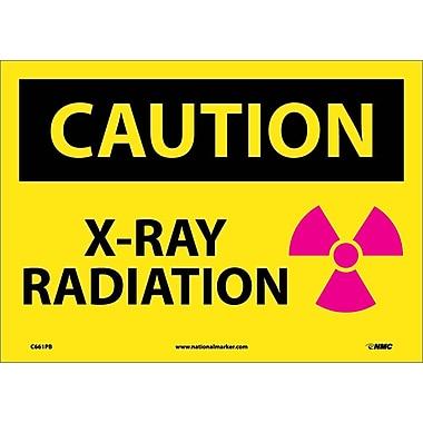 Panneau Caution, X-Ray Radiation avec image, 10 x 14 po, vinyle adhésif