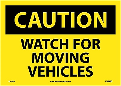 Caution, Watch For Moving Vehicles, 10X14, Adhesive Vinyl