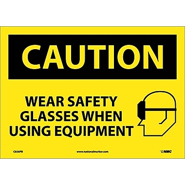 Panneau Wear Safety Glasses When Using Equipment, graphique, 10 x 14 po, vinyle adhésif