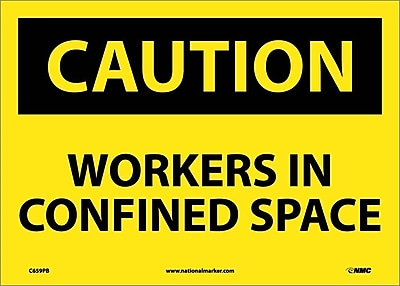 Caution, Workers In Confined Space, 10X14, Adhesive Vinyl