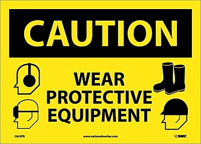 Caution, Wear Protective Equipment, Graphics, 10X14, Adhesive Vinyl