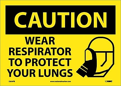 Caution, Wear Respirator To Protect Your Lungs, Graphic, 10X14, Adhesive Vinyl