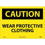 Caution, Wear Protective Clothing, 10X14, Adhesive Vinyl
