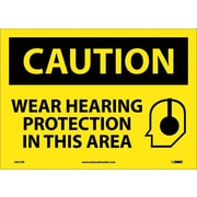 Caution, Wear Hearing Protection In This Area, Graphic, 10X14, Adhesive Vinyl