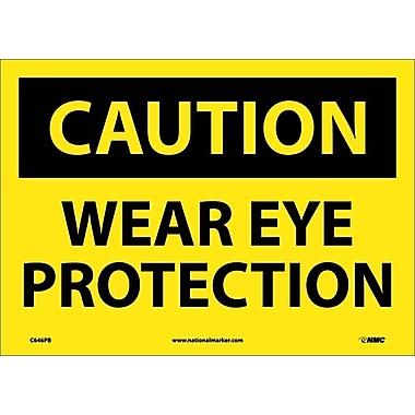 Caution, Wear Eye Protection, 10X14, Adhesive Vinyl