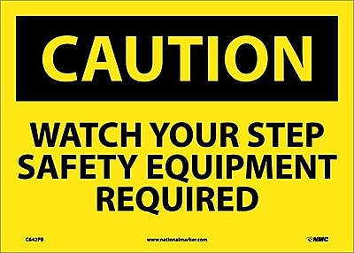 Caution, Watch Your Step Safety Equipment Required, 10X14, Adhesive Vinyl
