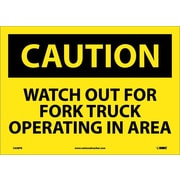 Caution, Watch Out For Fork Truck Operating In Area, 10X14, Adhesive Vinyl