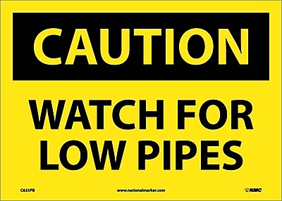 Caution, Watch For Low Pipes, 10X14, Adhesive Vinyl