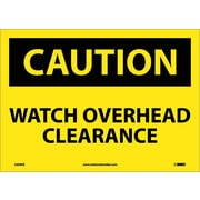 Caution, Watch Overhead Clearance, 10X14, Adhesive Vinyl