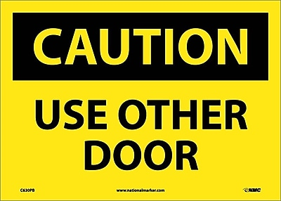 Caution, Use Other Door, 10X14, Adhesive Vinyl