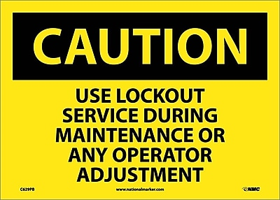 Caution, Use Lockout Service During Maintenance Or Any Operator Adjustment, 10X14, Adhesive Vinyl