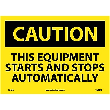 Caution, This Equipment Starts And Stops Automatically, 10X14, Adhesive Vinyl