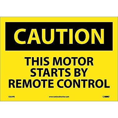 Caution, This Motor Starts By Remote Control, 10X14, Adhesive Vinyl