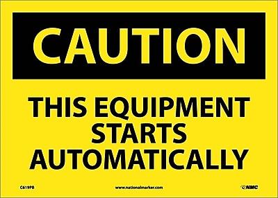 Caution, This Equipment Starts Automatically, 10X14, Adhesive Vinyl