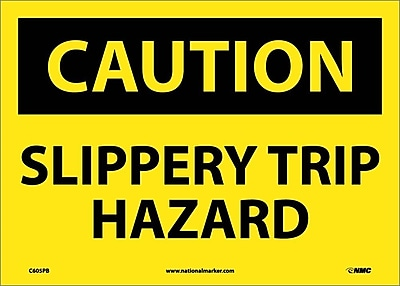 Caution, Slippery Trip Hazard, 10X14, Adhesive Vinyl