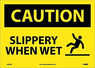 Caution, Slippery When Wet, Graphic, 10X14, Adhesive Vinyl