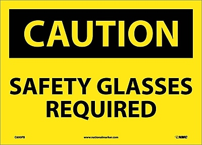 Caution, Safety Glasses Required, 10X14, Adhesive Vinyl