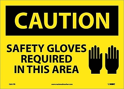 Caution, Safety Gloves Required In This Area, Graphic, 10X14, Adhesive Vinyl