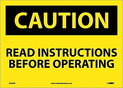 Caution, Read Instructions Before Operating, 10X14, Adhesive Vinyl