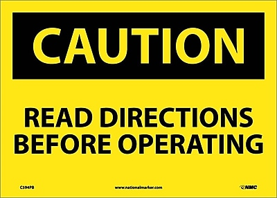 Caution, Read Directions Before Operating, 10X14, Adhesive Vinyl