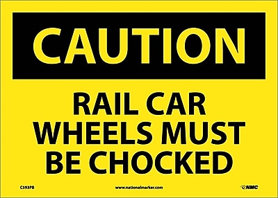 Caution, Rail Car Wheels Must Be Chocked, 10X14, Adhesive Vinyl
