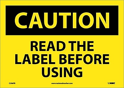 Caution, Read The Label Before Using, Graphic, 10X14, Adhesive Vinyl