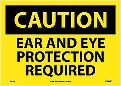 Caution, Ear And Eye Protection Required, 10X14, Adhesive Vinyl