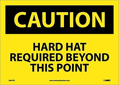 Caution, Hard Hat Required Beyond This Point, 10X14, Adhesive Vinyl