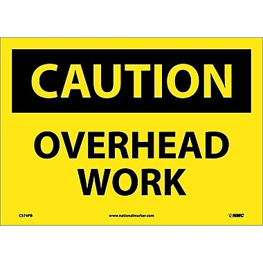 Caution, Overhead Work, 10X14, Adhesive Vinyl