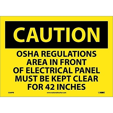Caution, Osha Regulations Area In Front Or Electrical Panel Must Be Kept Clear For 42 Inches, 10X14, Adhesive Vinyl