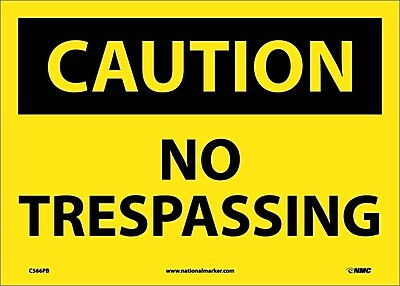 Caution, No Trespassing, 10X14, Adhesive Vinyl