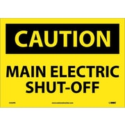 Caution, Main Electric Shut-Off, 10X14, Adhesive Vinyl