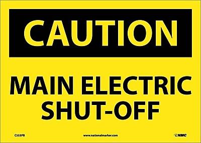 Caution, Main Electric Shut-Off, 10X14, Adhesive Vinyl