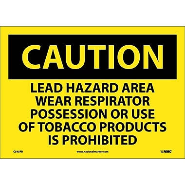 Caution, Lead Hazard Area Wear Respirator Possession Or Use Of Tobacco Products Is Prohibited, 10X14, Adhesive Vinyl
