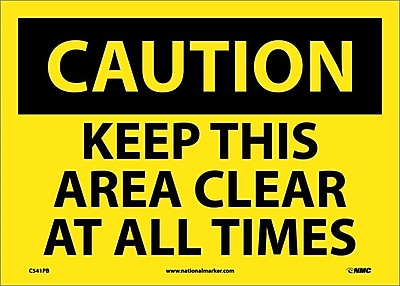 Caution, Keep This Area Clear At All Times, 10X14, Adhesive Vinyl