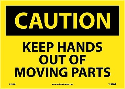 Caution, Keep Hands Out Of Moving Parts, 10X14, Adhesive Vinyl
